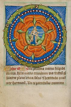 Rosary with Virgo Lactans        Unknown  English, East Anglia (perhaps Norfolk), 15th century  Tempera colors and gold leaf on parchment    MS. 101, FOL. 78V