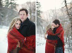 Great idea for winter photo shoots: just take along a wool tartan blanket!