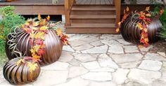 Roof turbines are repurposed into beautiful pumpkins for fall decorating