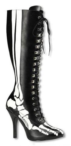 fa1c7a77fa11 schwarze  Skelett-Stiefel mit Schnürsenkel auf der Front. Die  Skelettstiefel sind der extravagante