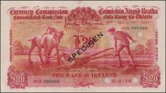 Ploughman Colour Trial Bank of Ireland signed Gargan Price Guide, Banks, The Twenties, Irish, Colour, Color, Irish Language, Ireland, Colors
