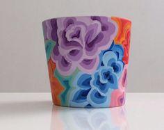 Colorful flower pot & it's handmade!  Etsy:RGdecoStudio