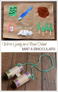 We're Going on a Bear Hunt Map & Binocular Craft (and free story retelling printable) Map Activities, Toddler Activities, Brown Bear Activities, Poetry Activities, Nature Activities, Comprehension Activities, Language Activities, Reading Activities, Binocular Craft