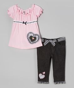 Pink Heart Peasant Top & Black Jeans - Toddler by Young Hearts #zulily #zulilyfinds