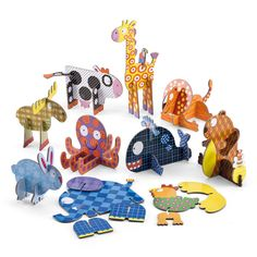Animal Puzzles - Here's a cool new take on jigsaw puzzles for children! Features: Sturdy card pieces that slot together to make ten animals. Cardboard Animals, Cardboard Toys, Paper Toys, Wooden Toys, Cardboard Rocket, All Toys, Kids Toys, Milk Carton Crafts, Christmas Stocking Fillers