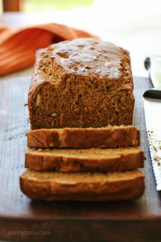 Pumpkin Banana Pecan Bread –made light by swapping most of the butter for pumpkin puree, bananas and apple sauce!