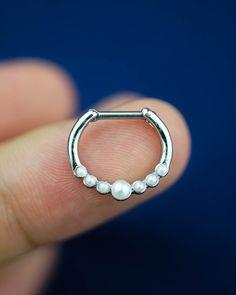 septum ring, pearl septum piercing, septum jewelry, nose ring, nose piercing, nose jewelry, unique cute by CCJJMM on Etsy https://www.etsy.com/listing/246918131/septum-ring-pearl-septum-piercing-septum