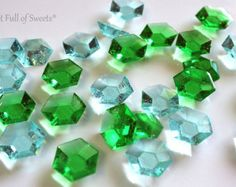 50 Minecraft Diamonds AQUA BLUE and EMERALD Jewels Party Hard Candy Cupcake Toppers Cake Decor Gifts Ready to Ship