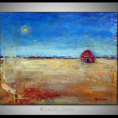 Whimsical ART Small Original Oil Painting on Canvas Country Art Colorful Red Barn Art 14x11 by BenWill by benwill on Etsy https://www.etsy.com/listing/225360267/whimsical-art-small-original-oil