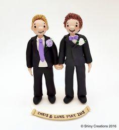 Chris & Luke's Wedding Caketoppers 2015 handmade by Shiny Creations Handmade personalised gay samesex Wedding caketoppers from Shiny Creations