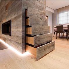 Reclaimed Alder Grey wood panels hidden storage and dining room space divider with a cavity sliding door partition 👊👍🔨 (📷 @admonteraustralia )