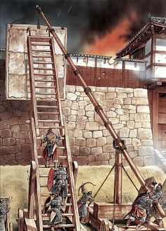 """""""Suncheon: the final siege"""", Peter Dennis. Depiction of a real practice of housing a protective screen ahead of siege ladders to help fortify against the besieged's attempts to thwart attacking the walls. Knights Hospitaller, Knights Templar, Military Engineering, Age Of Empires, History Images, Game Concept Art, Historical Art, Fortification, Fantasy Inspiration"""