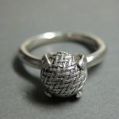 """silver """"woven victorian button"""" ring, handmade by Katrina Balling"""