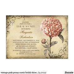 Floral Vintage - Pink Peony Wedding Invitations Gorgeous pink peony vintage shabby and chic wedding invitations ❤ Affiliate ad link. Customize these invitations / cards / products for your weddings. Rustic Bridal Shower Invitations, Engagement Party Invitations, Bridal Shower Rustic, Vintage Wedding Invitations, Wedding Rsvp, Wedding Favors, Wedding Ideas, Wedding Stationary, Floral Wedding