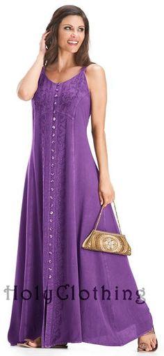 Naveen Gypsy A Line Gothic Empire Waist Beach Maxi Sun Dress - Dresses