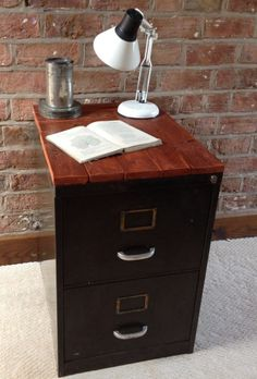 Rough Luxe Vintage Industrial Metal Filing Cabinet With Reclaimed Wood Top
