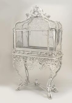 Buy Antique French Victorian white painted wrought iron bird cage (terrarium) with spider web design standing on a scroll legged base at Wish - Shopping Made Fun Victorian Furniture, Antique Furniture, Victorian Homes, Victorian Era, Victorian Terrariums, Art Nouveau, Bird Cages, Decoration Design, White Paints