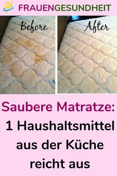 Clean mattress: 1 household budget from the kitchen is enough - Sabine Leben - . Mattress Cleaning, Clean Mattress, Modern Names, Household Budget, Shower Cleaner, Simple Life Hacks, Kitchen On A Budget, Home Hacks, Houses