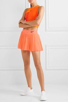 Neon-coral Dri-FIT Slips on polyester, elastane; Cute Golf Outfit, Cute Skirt Outfits, Sporty Outfits, Tennis Outfits, Tennis Dress, Nike Skirts, Sports Skirts, Golf Skirts, Look Fashion