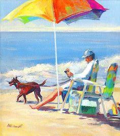 """Reading on the Beach"" by Linda Minkowski"