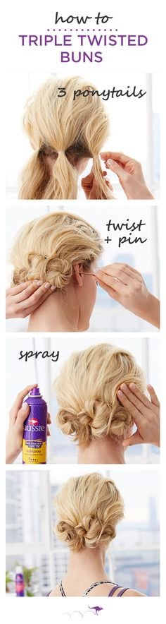 How To: Triple Twisted Buns |  Turn gym hair into beachy post-workout waves |  1. Section hair and create 3 low ponytails. For added texture, spray with  Aussie Total Miracle 7N1 Dry Shampoo  •  2. Twist the ponytail and wrap it around the elastic, pin in place  •  3. Repeat with the other two ponytails & finish with Sun-Touched Shine Hi Hold Hi Shine Hairspray.