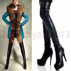 Plus Size 5-10 Womens Black Over the Knee Thigh High Platform Boots High Heels #new #FashionOvertheKnee