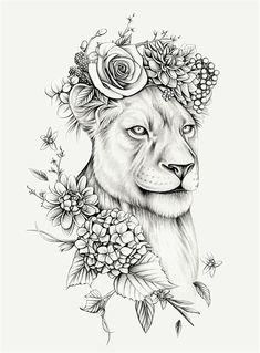 Lauren Mortimer - Pencil Illustrator specializing in Realism and Vintage Illustrations Leo Lion Tattoos, Female Lion Tattoo, Lion Tattoo On Thigh, Animal Tattoos, Tattoo Arm, Tattoo Flash, Lion Tattoo On Back, Female Hip Tattoos, Tribal Lion Tattoo