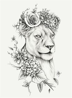 Lauren Mortimer - Pencil Illustrator specializing in Realism and Vintage Illustrations Leo Lion Tattoos, Female Lion Tattoo, Lion Tattoo On Thigh, Animal Tattoos, Body Art Tattoos, Sleeve Tattoos, Arm Tattoo, Tattoo Flash, Female Hip Tattoos