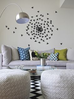 Colorful living #room with wall #bird #decor. Loving this #happy chic vibe