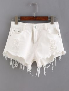 Vintage WRANGLER Shorts Denim Cutoff Shorts WHITE Distressed ...