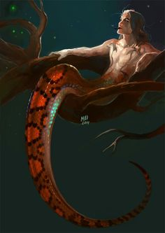 Fantasy madnessdemon: 30 Day Monster boy Challenge, number Naga Epicrates cenchria used as refere Dark Fantasy Art, Fantasy Artwork, Monster Boy, Snake Monster, Mermaids And Mermen, Merfolk, Mythological Creatures, Mermaid Art, Anime Mermaid