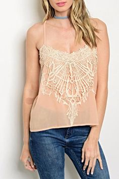 "Scoop Neck Spaghetti Strap Top With Front Lace Detail. Country: CHINA Fabric Content: 100% POLYESTER Size Scale: M-L Description: L: 25"" B: 28"" W: 36"" Model is wearing a small please see measurements to ensure best fit. Nude Crochet Cami by Dygarni. Clothing Colorado"