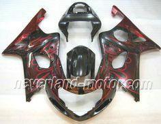 SUZUKI GSX-R 1000 2000-2002 K1 ABS Verkleidung - Rot Flamme #gsxr1000verkleidung #suzukigsxr1000verkleidung