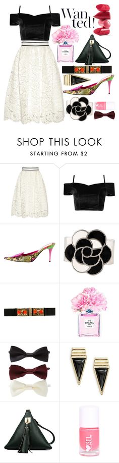 """""""Saturday night!"""" by theglossyspace ❤ liked on Polyvore featuring Alice + Olivia, Moschino, Chanel, Matthew Williamson, Forever 21, Rossetto, Panacea, aliceolivia and polyvoreeditorai"""