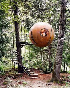 The magical Free Spirit Spheres, where you can sleep in a custom designed floating pod, in the forests outside Vancouver, BC // Pin curated by @seattlestravels for @explorecanada