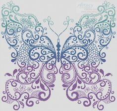Purple Blue Green Butterfly cross stitch chart [3853] Stitches = 291w x…