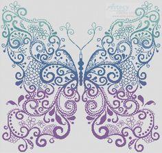Artecy Cross Stitch. The Purple Blue Green Butterfly Cross Stitch Pattern to print online.