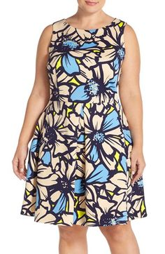Taylor Dresses 'Big Daisy' Print Scuba Knit Fit & Flare Dress (Plus Size) available at #Nordstrom