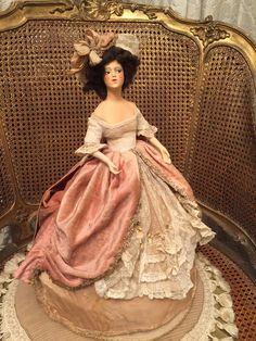 Superb,authentic and large wax half doll ( Lili Baitz style) with bisque arms and brown mohair wig ' wearing an original pink velvet, lace and rococo ribbon dress and matching hat. Ce buste très fin (de style Lili Baitz) n'est pas marqué ni signé et mesure 17cm environ, 44 cm avec la robe.Très bel état. | eBay!