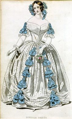1840 fashion plate, blue ribbons and white silk dress (?)