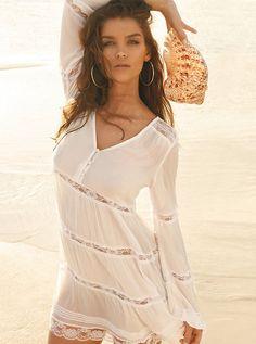 Long-Sleeve Lace Babydoll Dress | GUESS.com