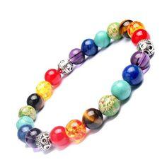 Multi-Colored Chakra Healing Balance Beads Bracelet