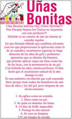 Uñas Bonitas Informa Hay Fiebre Hybrida!!! Nos Encanta Somos los Unicos en Argentina con este producto!!! Hybrido es un camino de ida sin retorno al esmalte regular.