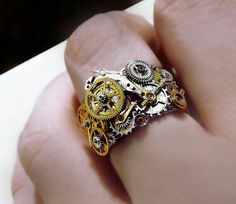Steam punk Ring - cogs in Brass, Silver and gold - Armand aesthetic