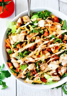 This Tex-Mex Chicken Chopped Salad is filled with crunchy romaine lettuce, corn, black beans, grilled chicken and more. The taco-flavored ranch dressing finishes it off to perfection! Soup And Salad, Pasta Salad, Feta Pasta, Tex Mex Chicken, Main Dish Salads, Main Dishes, Cooking Recipes, Healthy Recipes, Healthy Foods