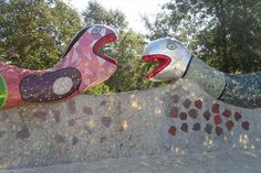 These mosaic snakes are set atop the wall as one enters Niki de Saint Phalle's sculpture garden known as Queen Califia's Magical Circle.
