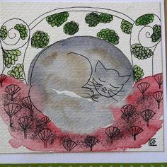 Lot de 2 cartes d'art doubles anniversaire fête remerciement les chats de l'automne