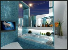 Cool Blue Bathroom Tile Design