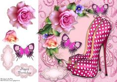 """Beautiful Hot Pink Polka Dot Shoe s 8x8 on Craftsuprint designed by Amy Perry - Beautiful Hot Pink Polka Dot Shoe's 8x8 in lovely pink bling frame with corner roses and butterflies, also has decoupage and choice of tag """"Happy Birthday"""" and a blank tag for your own sentiment - Now available for download!"""