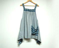 Long Blue Cotton Tunic Shabby Chic Smock Lagenlook Mori Girl Style Eco Friendly Upcycled Women's Clothing by Primitive Fringe by PrimitiveFringe